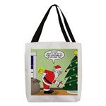 Santa and Stretching Polyester Tote Bag