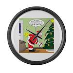 Santa and Stretching Large Wall Clock
