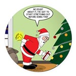 Santa and Stretching Round Car Magnet