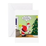 Santa and Stretching Greeting Cards (Pk of 10)