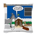 Yard Mixed-Size Nativity Woven Throw Pillow