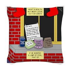 health nut santa Woven Throw Pillow