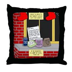 health nut santa Throw Pillow