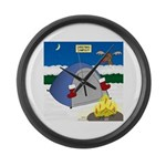 Christmas Campout Large Wall Clock