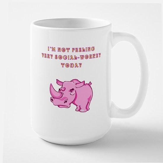 Not social-workey in pink Large Mug