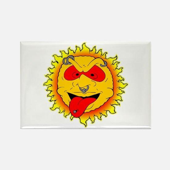 Body Piercing Sun Tattoo Rectangle Magnet