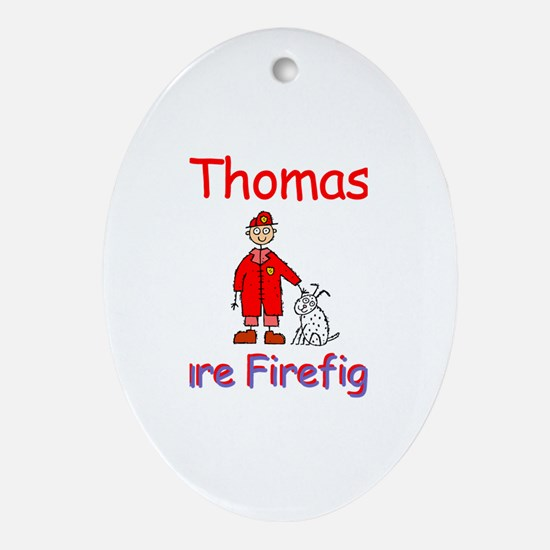 Thomas - Future Firefighter Oval Ornament