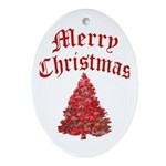 Merry Christmas - Holiday Ornament Oval