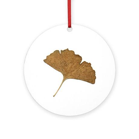 Ginkgo Leaf Ornament (Round)