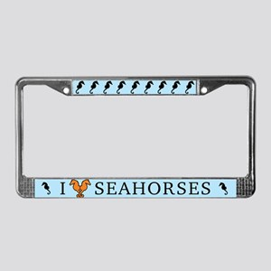 I Love Seahorses License Plate Frame