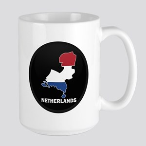 Flag Map of NETHERLANDS Large Mug