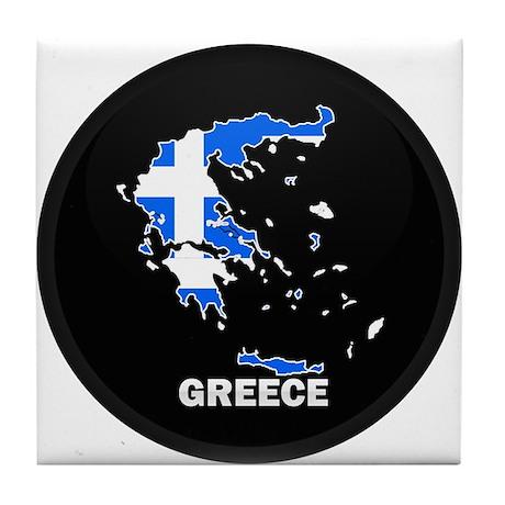 Flag Map of Greece Tile Coaster