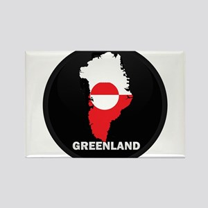 Flag Map of Greenland Rectangle Magnet