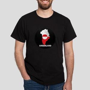 Flag Map of Greenland Dark T-Shirt