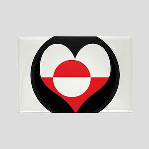 I love Greenland Flag Rectangle Magnet