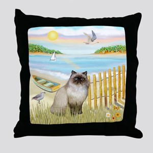 Rowboat / Himalayan Cat Throw Pillow