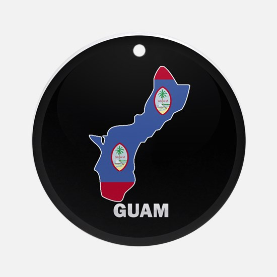 Flag Map of GUAM Ornament (Round)