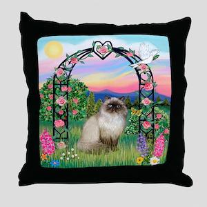 Rose Arbor / Himalayan Cat Throw Pillow
