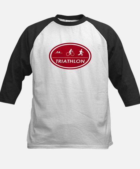 Triathlon Oval Red Kids Baseball Jersey