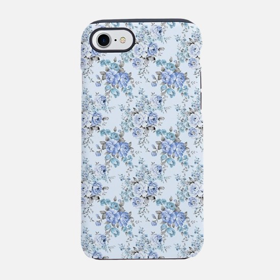 Blue Rosy Flower Pattern iPhone 7 Tough Case
