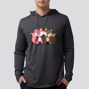 Pink and Brown Fox Couple Long Sleeve T-Shirt