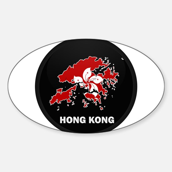 Flag Map of Hong Kong Oval Decal