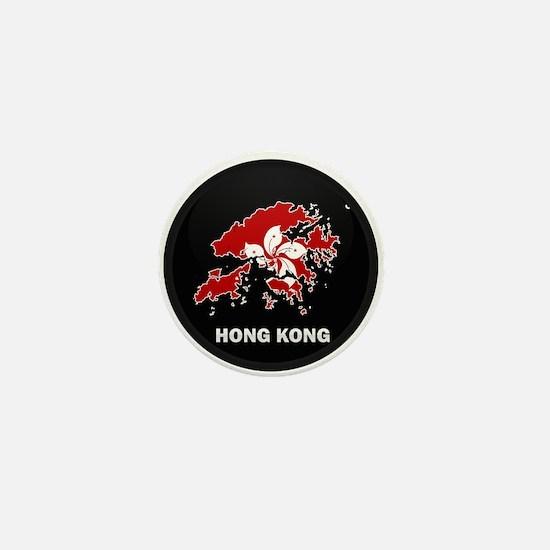 Flag Map of Hong Kong Mini Button