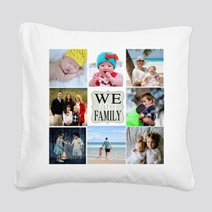 Custom Family Photo Collage Square Canvas Pillow