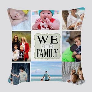 Custom Family Photo Collage Woven Throw Pillow