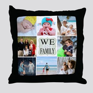 Custom Family Photo Collage Throw Pillow