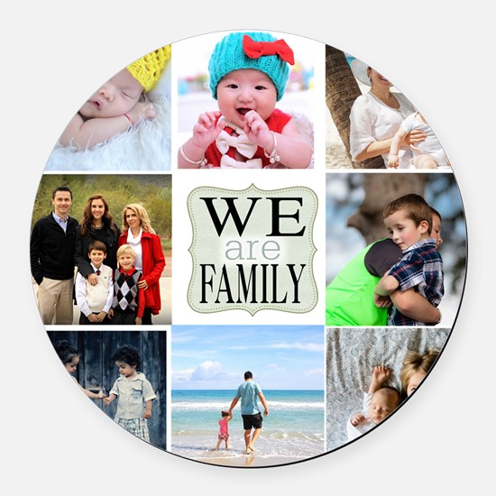 Custom Family Photo Collage Round Car Magnet