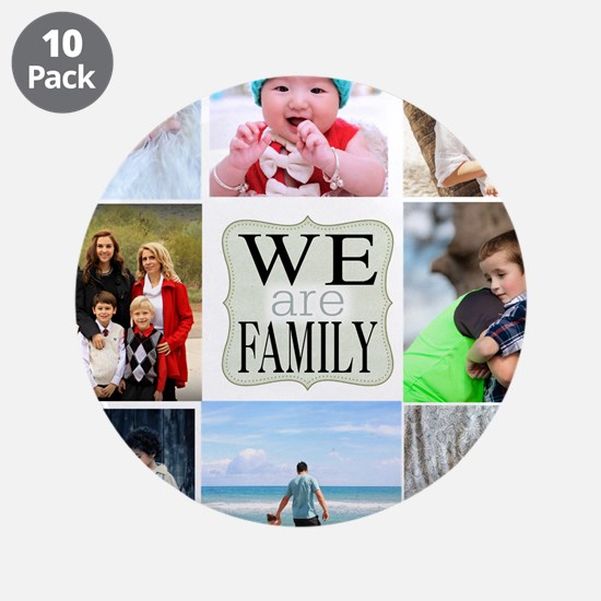 """Custom Family Photo Collage 3.5"""" Button (10 pack)"""