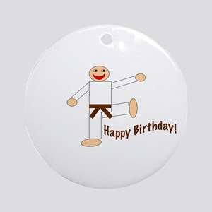Martial Arts Brown Belt Birthday Ornament (Round)