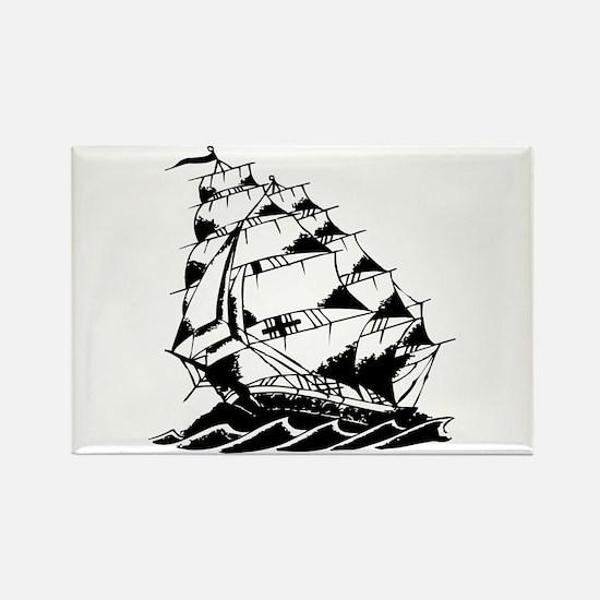 Sailing Ship Old Skool Tattoo Rectangle Magnet