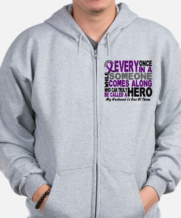Hero Comes Along Husband Pancreatic Cancer Zip Hoodie