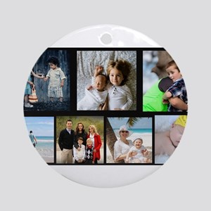 7 Photo Family Collage Round Ornament
