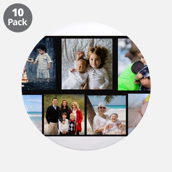 """7 Photo Family Collage 3.5"""" Button (10 pack)"""