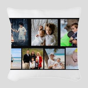 7 Photo Family Collage Woven Throw Pillow