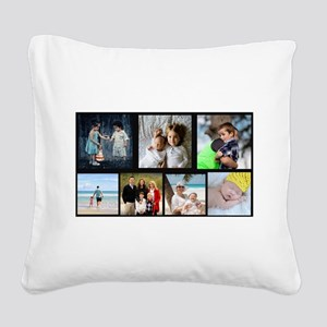 7 Photo Family Collage Square Canvas Pillow