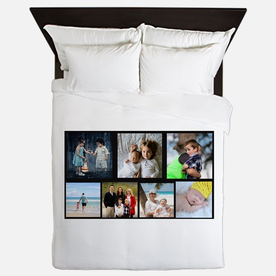 7 Photo Family Collage Queen Duvet