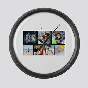 7 Photo Family Collage Large Wall Clock