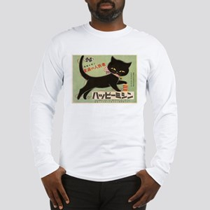 Cat, Japan, Vintage Poster Long Sleeve T-Shirt