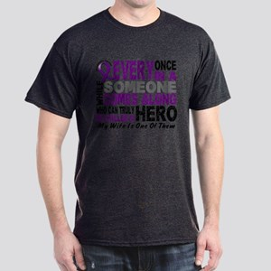 Hero Comes Along Wife Pancreatic Cancer Shirt Dark
