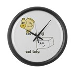 Save a Chicken Eat Tofu Large Wall Clock