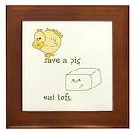 Save a Chicken Eat Tofu Framed Tile