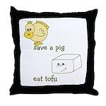 Save a Chicken Eat Tofu Throw Pillow