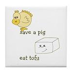 Save a Chicken Eat Tofu Tile Coaster