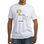 Save a Chicken Eat Tofu Fitted T-Shirt