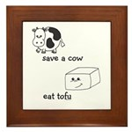 Save a Cow Eat Tofu Framed Tile