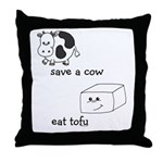 Save a Cow Eat Tofu Throw Pillow